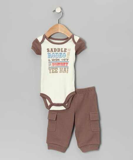 Brown 'Saddle Up' Bodysuit & Cargo Pants - Infant