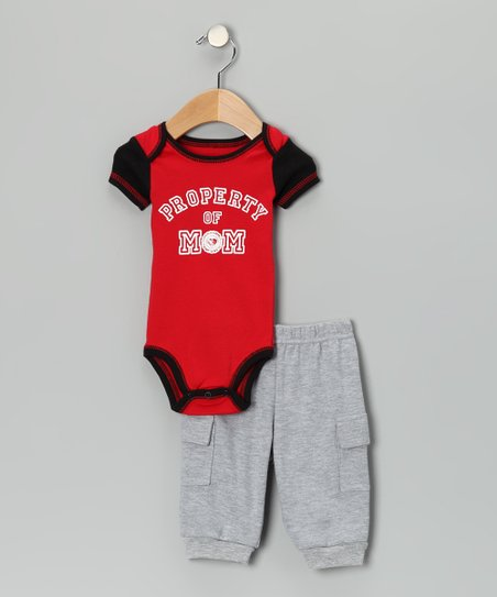 Red 'Property of Mom' Bodysuit & Cargo Pants - Infant