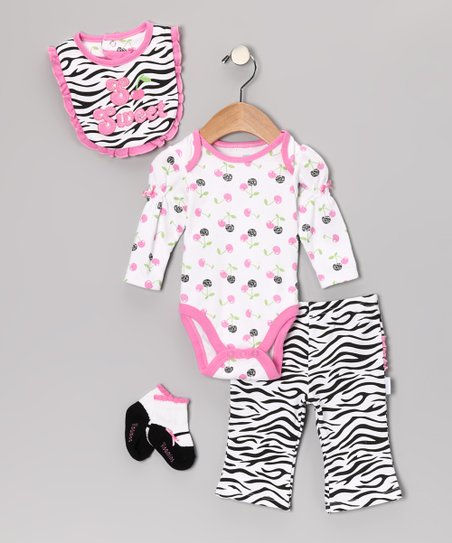 Pink Zebra 'So Sweet' Bodysuit Set