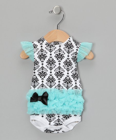 Turquoise Damask Tutu Bodysuit 