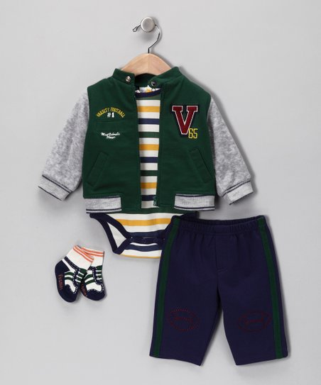 Green & Gray Varsity Football Jacket Set