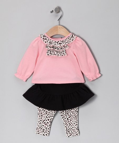 Light Pink & Black Cheetah Top & Skirted Leggings - Infant