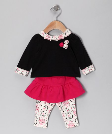 Black & Hot Pink Rose Top & Skirted Leggings - Infant