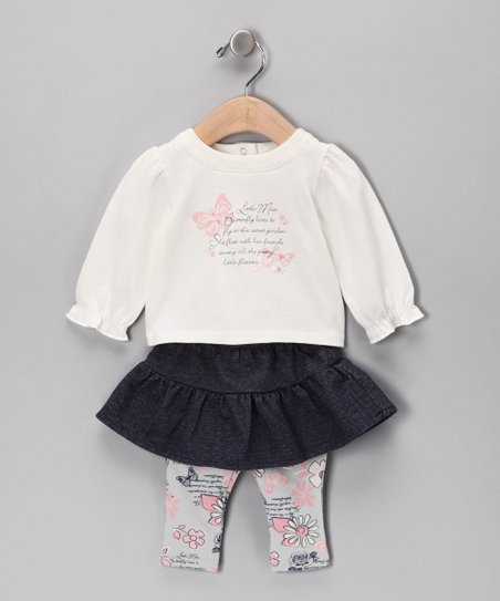 White & Pink Miss Butterfly Top & Skirted Leggings