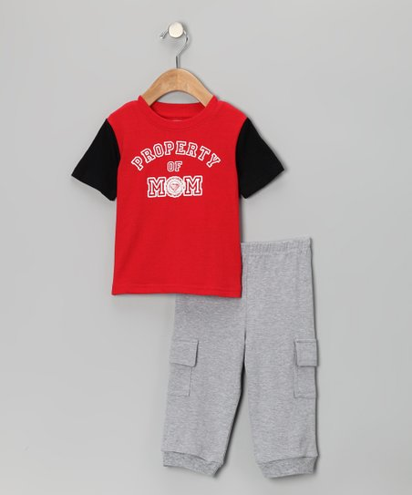 Red 'Property of Mom' Tee & Cargo Pants - Infant