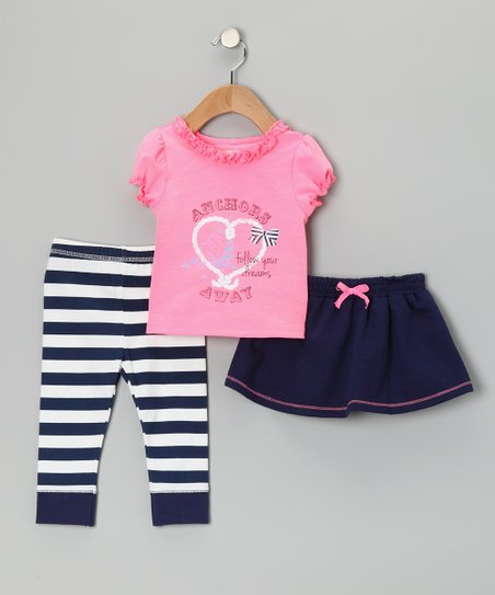 Navy 'Anchors' Skirt Set - Infant