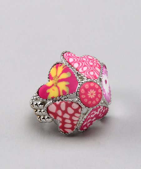 Simply Pink Stretch Heart Ring