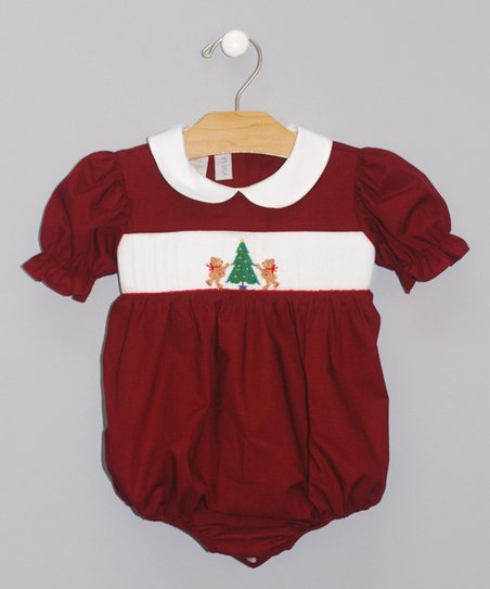 Cranberry Trimming the Tree Smocked Bubble Bodysuit - Infant