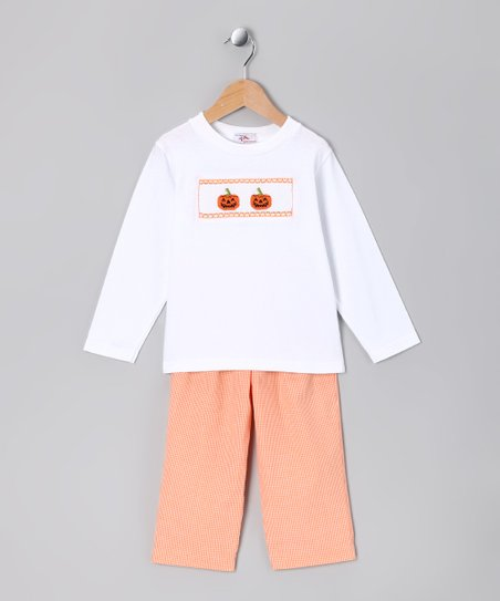 White Double Pumpkin Tee & Orange Pants - Infant & Girls