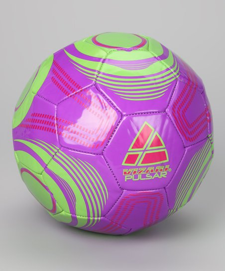 Purple & Green Pulsar Soccer Ball