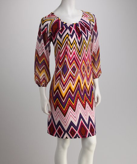 Pink & Yellow Zigzag Shift Dress