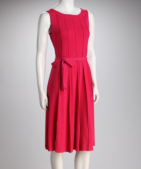 Fuchsia Vertical Seam Tie-Waist Dress