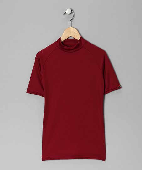 Maroon Microtech Form-Fit Short-Sleeve Shirt