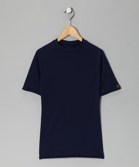 Navy Blue Microtech Form-Fit Short-Sleeve Shirt