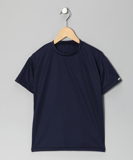 Navy Blue Microtech Loose Short-Sleeve Shirt