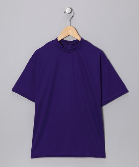 Purple Microtech Loose Short-Sleeve Shirt
