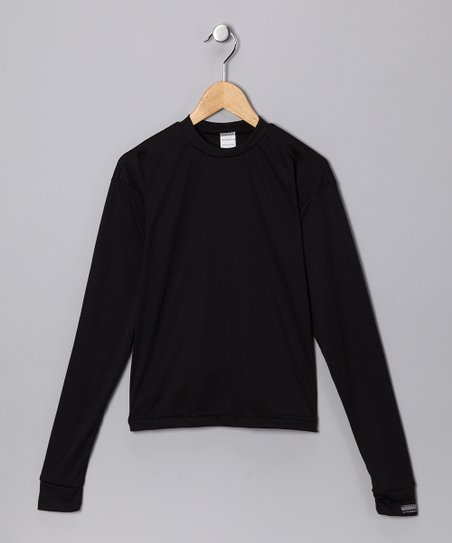 Black Microtech Loose Long-Sleeve Shirt