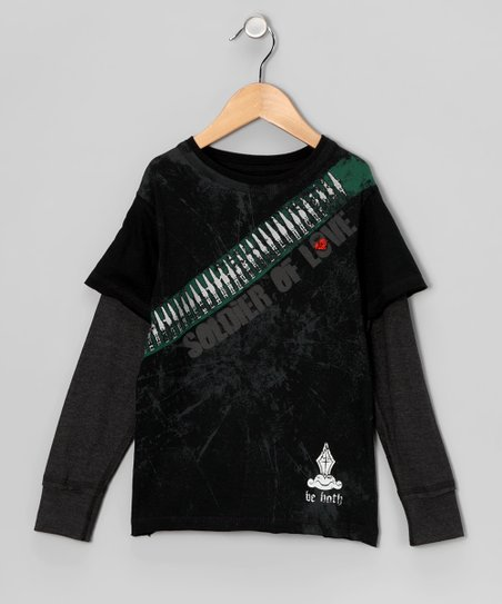 Black 'Soldier of Love' Layered Tee - Toddler & Boys