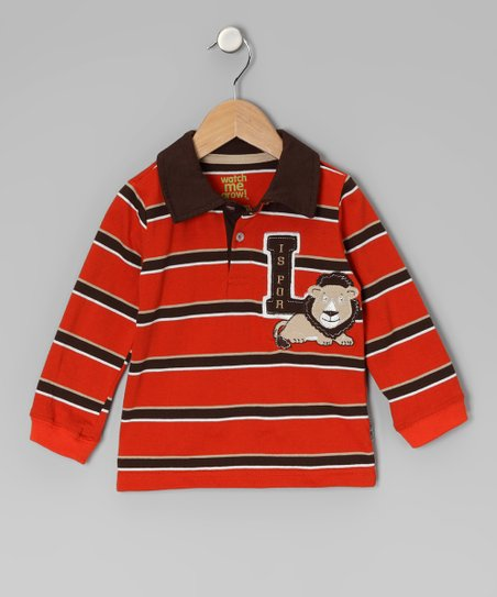 Red & Brown Stripe 'L Is for Lion' Polo - Infant