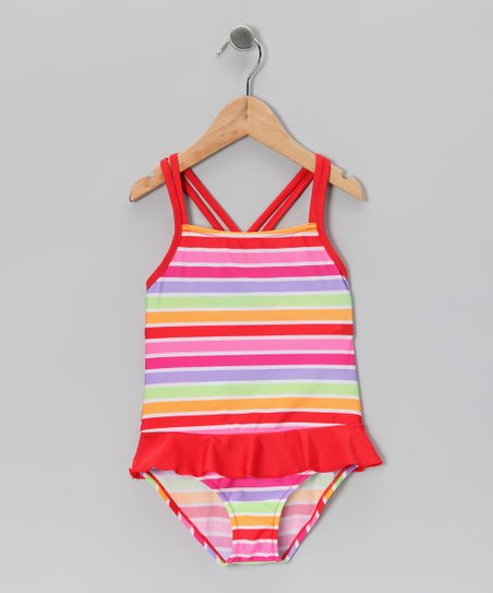 Warm Tones Stripe Ruffle One-Piece - Toddler & Girls