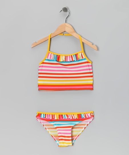 Warm Tones Stripe Ruffle Tankini - Girls