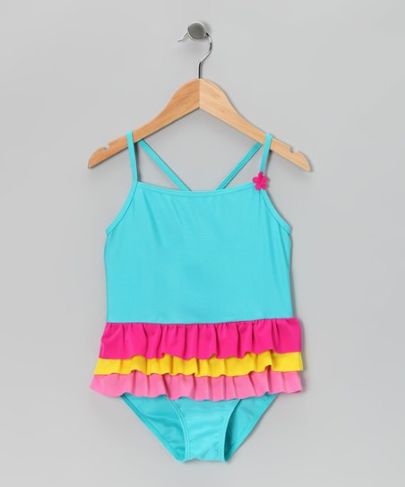 Blue & Pink Ruffle One-Piece - Girls