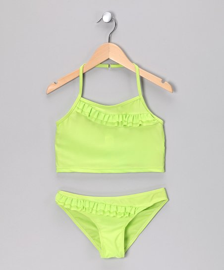Green Diagonal Ruffle Tankini - Girls