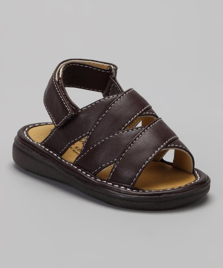 Brown Crisscross Squeaker Sandal