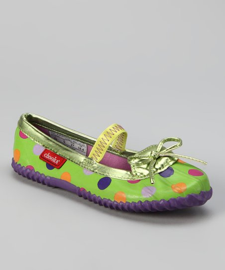 Green Polka Dot Duck Flat