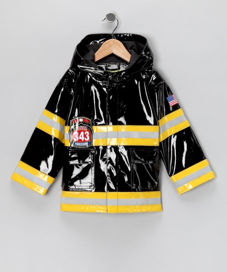 Black Light-Up 'Fire Chief' Raincoat - Toddler & Kids