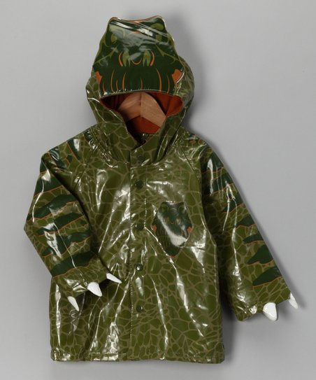 Green Dinosaur Raincoat - Toddler & Kids