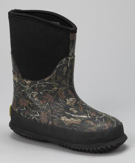 Dark Green Camo Leaf Jumper Rain Boot