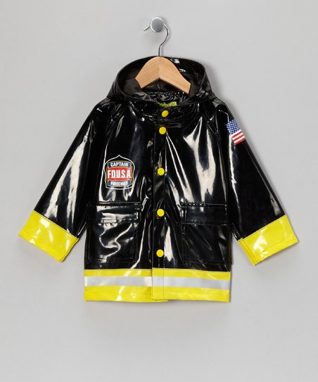Black &amp; Yellow &#039;Captain&#039; Firefighter Raincoat - Toddler