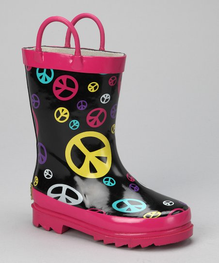 Fuchsia & Black Peace Rain Boot