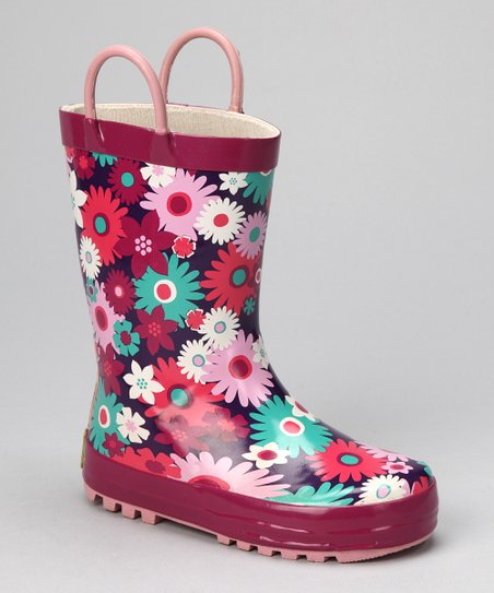 Fuchsia &amp; Teal Floral Mirabelle Rain Boot