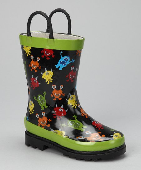 Black &amp; Green Party Monster Rain Boot