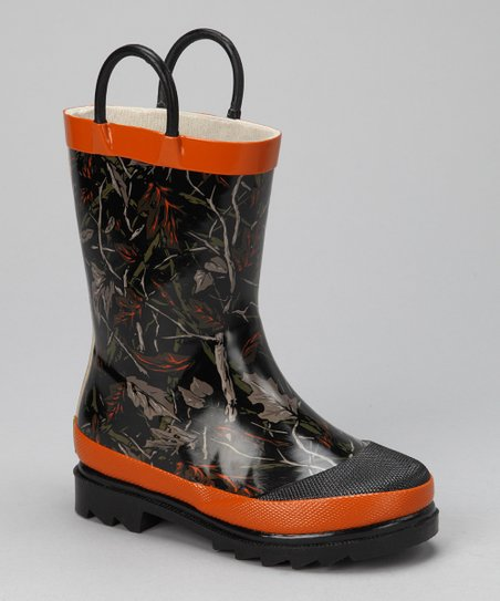 Orange Camo Leaf Jumper Rain Boot