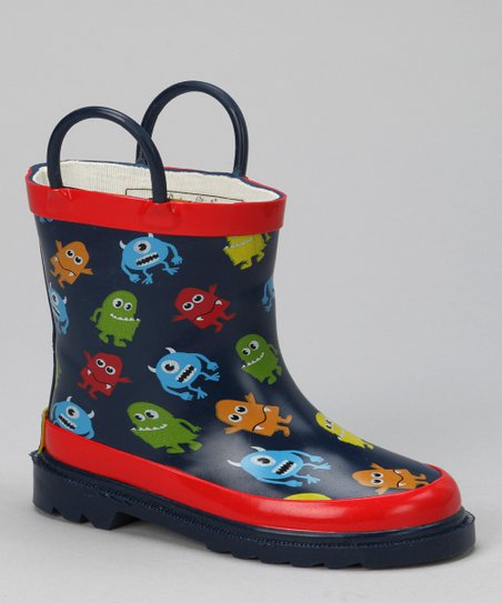 Black & Red Monster City Rain Boot
