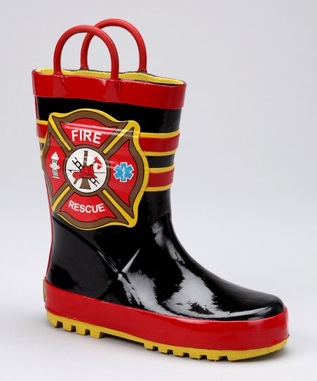 Black &amp; Red &#039;Fire Rescue&#039; Rain Boot