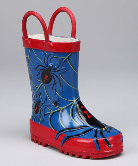 Blue &amp; Red Spider Rain Boot