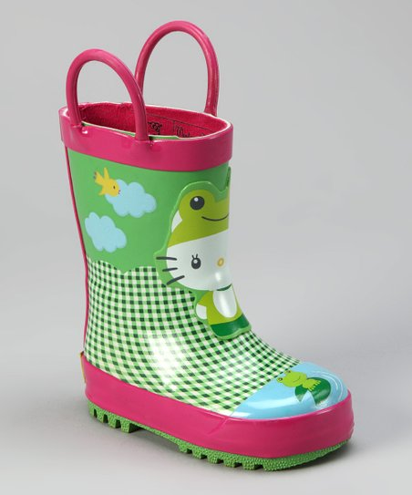 Green Hello Kitty Froggy Rain Boot