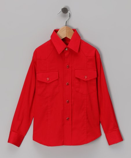 Western Express Red Western Shirt - Boys