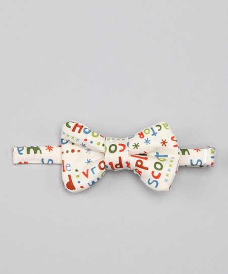 Whimsical Pudding White Scoot Bennie Bow Tie