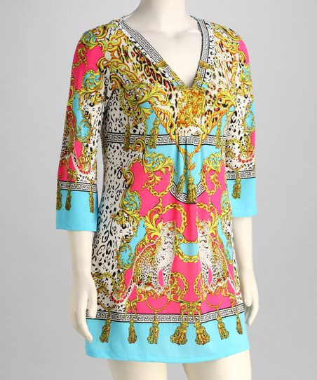 Yellow & Turquoise Leopard V-Neck Tunic - Plus