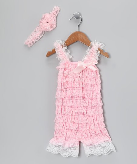 Pink Lace Flower Headband & Ruffle Romper - Infant & Toddler
