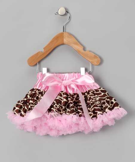 Pink &amp; Brown Bow Giraffe Pettiskirt - Infant, Toddler &amp; Girls
