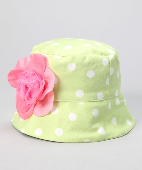 Lime Lulu Polka Dot French Bucket Hat - Infant, Toddler & Kids