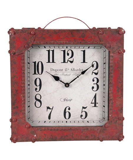 Red Square Distressed Standing Clock
