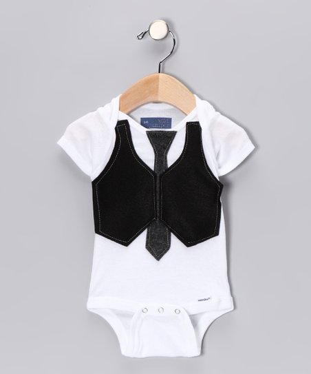 Gray Skinny Tie &amp; Black Vest Bodysuit - Infant