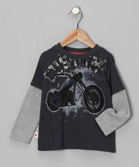 Charcoal 'Custom Chopper' Layered Tee - Toddler & Boys